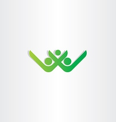 Letter w and v healthy people green icon vector
