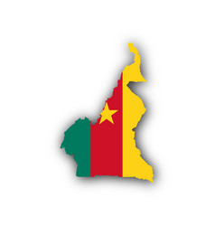 Map and flag of cameroon vector