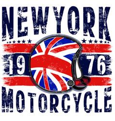 motorcycle helmet typography new york sports club vector image