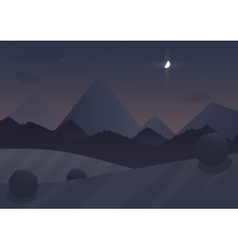 Night cartoon Mountain Landscape Background with vector image