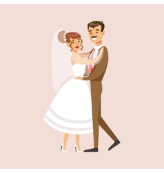 Old-school Newlyweds Dancing At The Wedding Party vector image