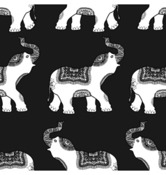 Pattern with ethnic elephant vector