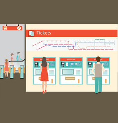 people buying a ticket for the train vector image vector image