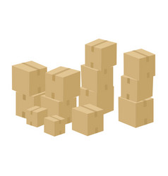 pile of cartoon boxes vector image