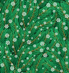 Pine twigs and snowflakes seamless pattern vector image vector image