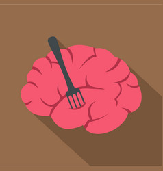 pink brain with fork icon flat style vector image