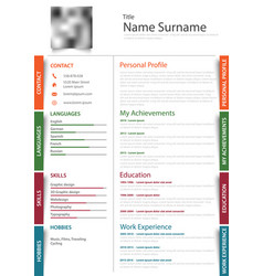professional resume cv with colored design vector image vector image