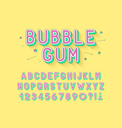 Retro bubble gum bold font design alphabet vector