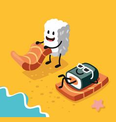 sashimi happy and sushi vector image vector image