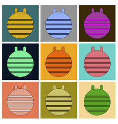 Set of icons in flat design fitball vector
