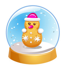 Snow globe with snowman inside isolated on white vector
