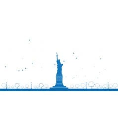 statue of liberty blue sky outline vector image vector image