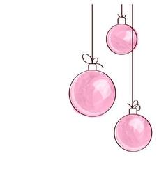 Three pink watercolor christmas tree balls vector