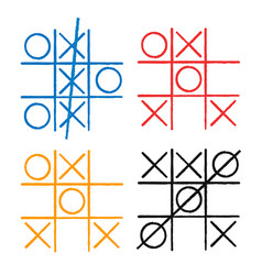Tic tac toe set noughts and crosses board game vector