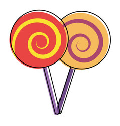 two lollipop round spiral sweet with stick vector image