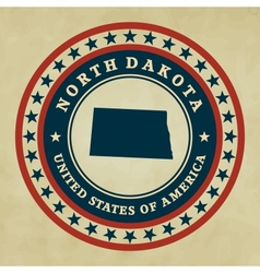 Vintage label North Dakota vector image