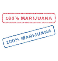 100 percent marijuana textile stamps vector
