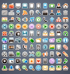 100 sticker icons vector