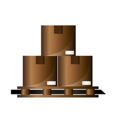 Cardboard boxes on wooden pallet icon vector