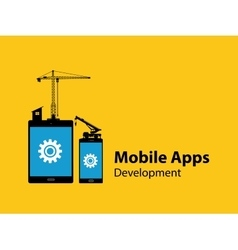 Mobile apps development concept with tab and vector
