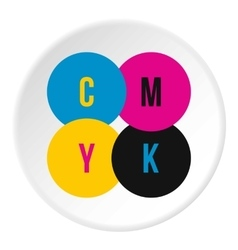 CMYK color profile icon flat style vector image