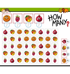 Counting activity with fruits vector