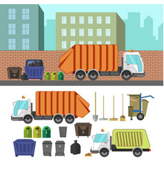 Process of taking of garbage with rubbish truck vector