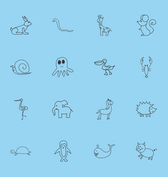 Set of 16 editable zoology doodles includes vector