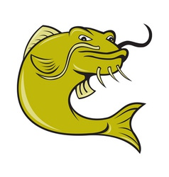 Angry cartoon catfish fish vector