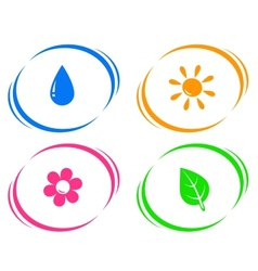 Round icons with water drop sun flower and green vector