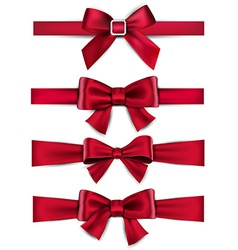 Satin red ribbons gift bows vector