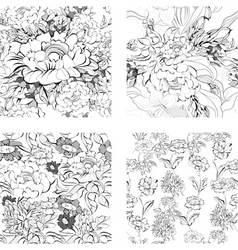 Set of floral seamless pattern vector