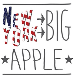 New york big apple typography poster t-shirt vector