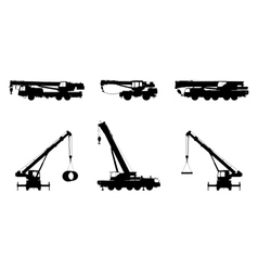 Set crane silhouette on a white background vector