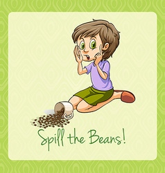 Old saying spill the beans vector