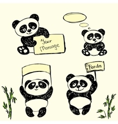 Cute panda in various poses with signs for text vector