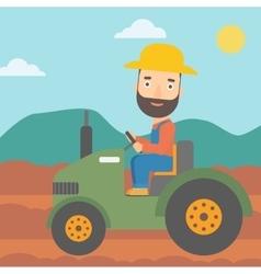 Farmer driving tractor vector