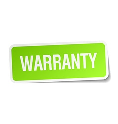 Warranty green square sticker on white background vector