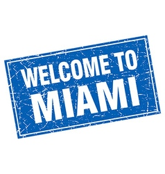 Miami blue square grunge welcome to stamp vector