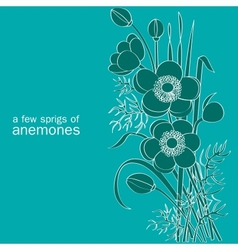 A few sprigs of anemones vector