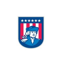American Patriot Head Bust Shield Retro vector image vector image