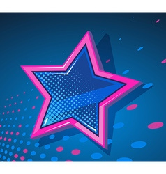 Big star with glowing spots on dark blue vector