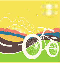 Bike on country road vector