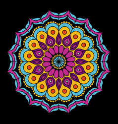 Black background with colorful flower mandala vector