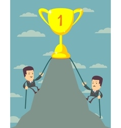 Businessman is climbing to get the prize vector