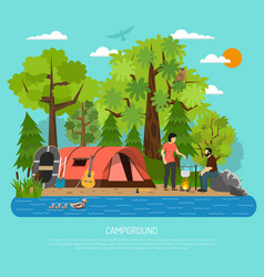 campground recreation family summer tent poster vector image vector image