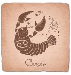 Cancer zodiac sign horoscope vintage card vector
