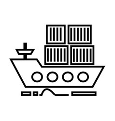 cargo delivery by sea ship line icon sign vector image vector image