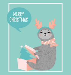 christmas card with a funny sloth opening present vector image