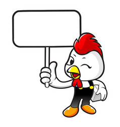 Cock character holding a picket and box isolated vector